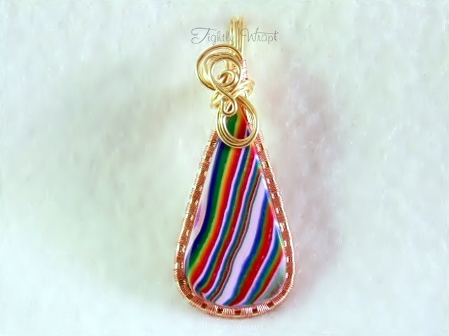 "Teardrop ""Acid Rainbow"" Pendant (Brass and Copper Wire)"