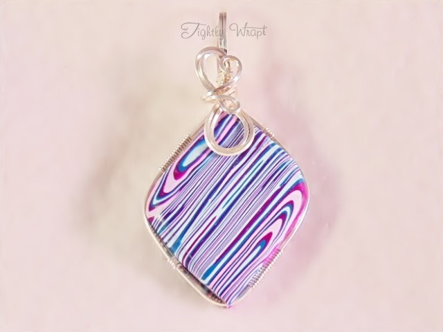 Shades of Blue and Pink Pendant (Sterling Silver-filled Wire)
