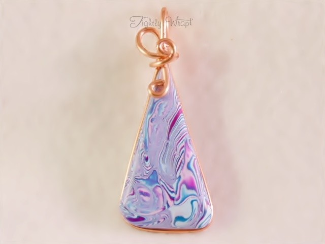 Shades of Blue and Pink Pendant (Copper Wire)