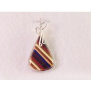 "Single Blue Striped Earth-toned ""Thomsite""  Pendant"
