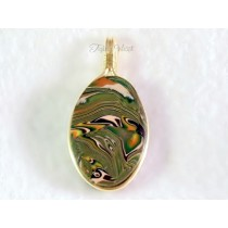 """Acid Camo"" Oval Pendant (Unisex, Brass Wire)"