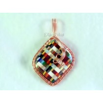 "Large ""Plaid"" Thomsite Pendant"