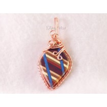 "Double Blue Striped Earth-toned ""Thomsite"" Pendant"