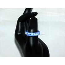 Blue and White Thomsite Ring (Size 8 1/2)