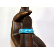 Turquoise and Black Thomsite Ring (Size 8)